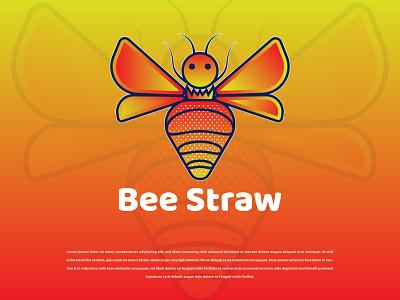 Bee Straw Logo Design company logo fruit logo bee strawberry strawberry logo bee logo unique logo creative logo logos logo animal logo logotype brand identity abstract logo brand design logo design modern logo logodesign gradient logo colorful logo branding