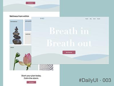 DailyUI 003 - Landing Page uxui ui wellness landing page desktop 003 dailyui