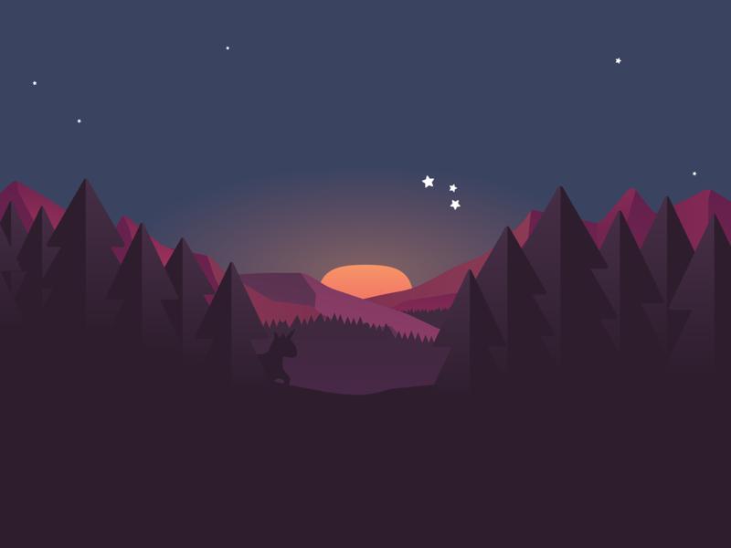 Teaser landscape night sky stars mountains forest pinetree sunrise sunset flat design unicorn