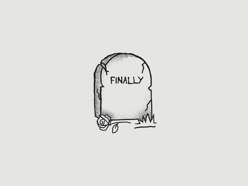 Finally humor dark morbid finally rose simple shirt tattoo tombstone tomb graveyard grave drawing