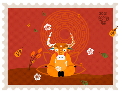 Yoga in the red season character illustration