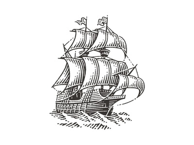 Galleon galleon ship traveling travel boat sea ocean package label logo icon etching hand drawing pen and ink vector engraving engraving