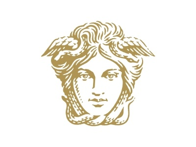 Medusa for logotype woman hand drawing gorgon medusa logo icon pen and ink etching vector engraving engraving portrait