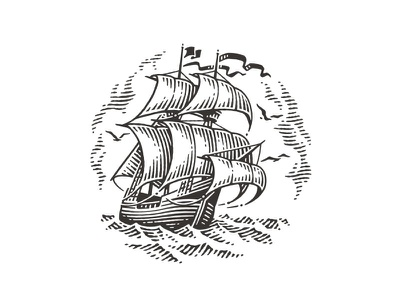 Gallion gallion ship illustration label logo hand drawing pen and ink etching vector engraving engraving