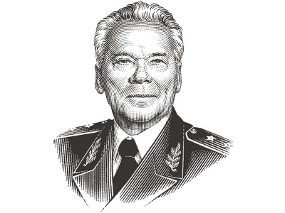 Mikhail Kalashnikov etched engraved woodcut illustration portrait pen and ink etching vector engraving engraving