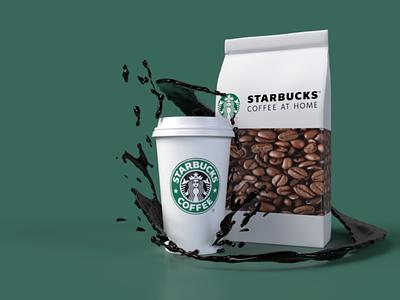 Starbucks 3D coffee model background art starbucks 3d art render 3d ui web design