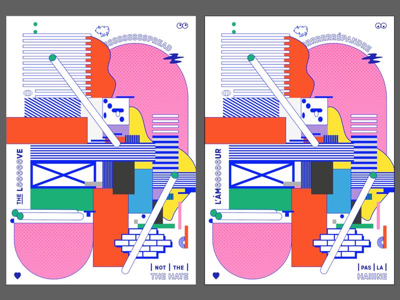 Spread The Love decorative illustration print experimental digital vector screenprint flat poster illustrator cc colour typography graphic design illustration