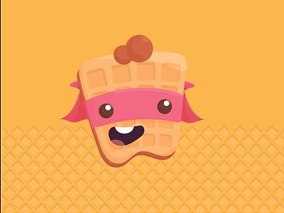 waffleman illustration design logo kid 2d character animation waffle cone character design waffleman character waffle
