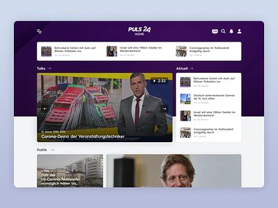 PULS24 - UI Web Design for a TV News Channel (Desktop, Part 1) news site news design mobile design design app ui ux uiux ui design uidesign app