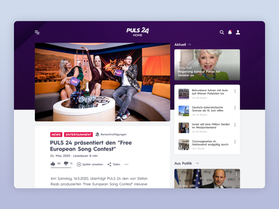 PULS24 - UI Web Design for a TV News Channel (Desktop, Part 4) tv news app tv app news site news design ux uiux ui design uidesign app