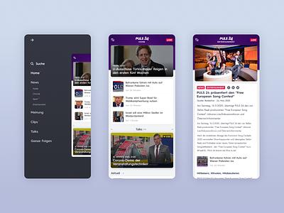 PULS24 - UI Web Design for a TV News Channel (Mobile, Part 2) uxdesign tv news news site news app news design ux uiux ui design uidesign