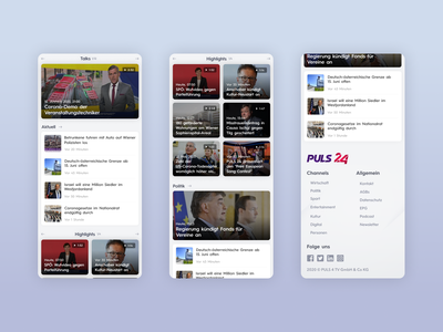 PULS24 - UI Web Design for a TV News Channel (Mobile, Part 3) mobile design tv ui news app app news design ux uiux ui design uidesign