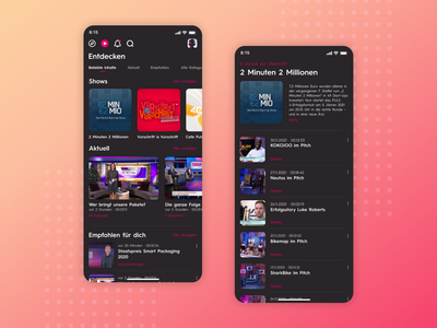 Puls4 App - App Design UI for TV-Channel Video App (Part 1) streaming app streaming ui design video app tv video news app app design ui  ux uiux ui app