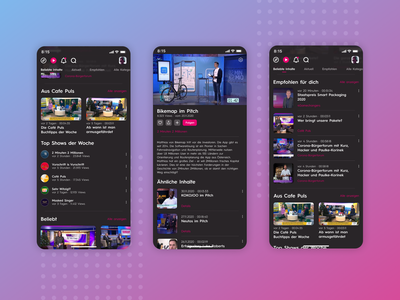 Puls4 App - App Design UI for TV-Channel Video App (Part 3) ux news design tv app streaming app streaming ui design uidesign video app tv video news app app design ui  ux uiux ui app