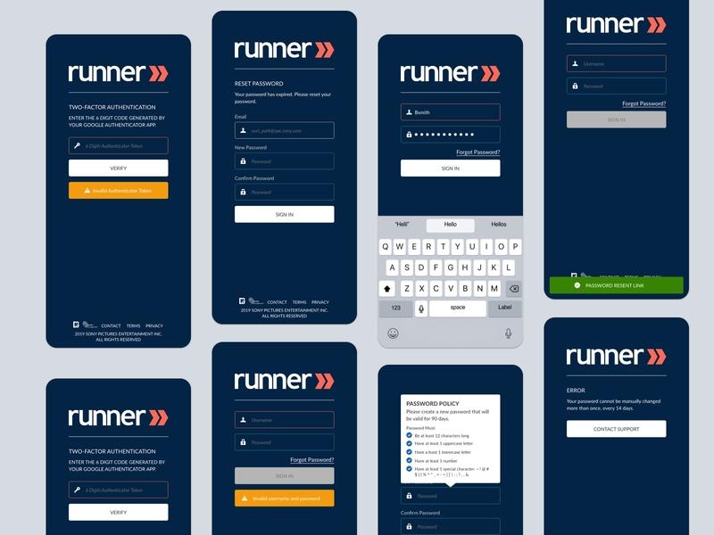 Runner Mobile Lite Login Screens