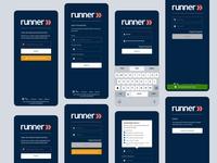 Runner Mobile Lite Login Screens web vector app design logo iconography ux graphicdesign branding ui