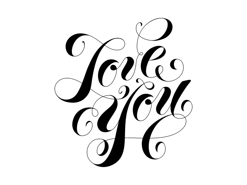 Love You typography love you script lettering
