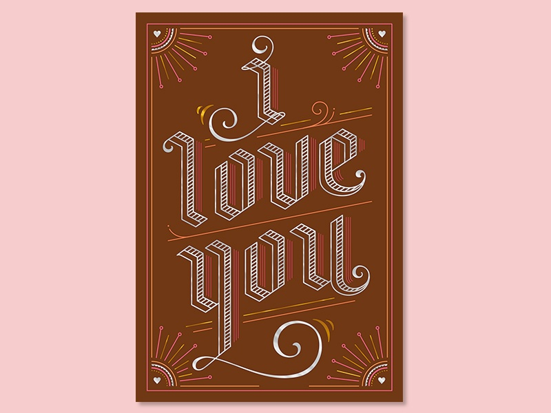 I Love You illustration lines lettering greeting cards love i love you