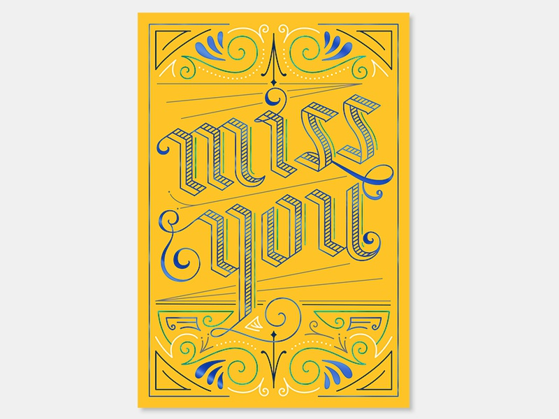 Miss You illustration lines lettering greeting cards love miss you