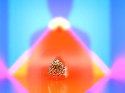 Neon temple part : mood illustration 3d product website branding rendering designer render 3d artist design