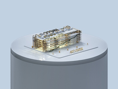 Centre George Pompidou, Paris. 3d artist illustration rendering identity branding design