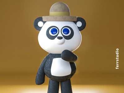 Sad Panda animals character animal illustration 3d artist design