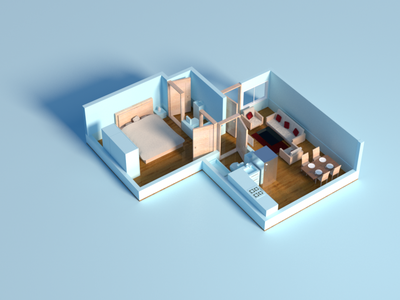 3D blue House nft design 3dhouse house 3d