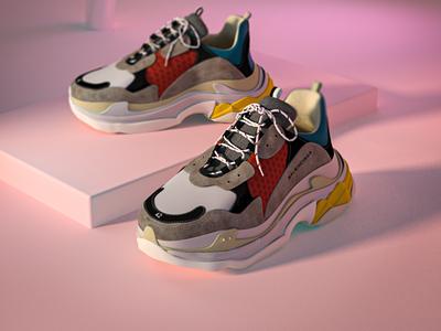 Balenciaga Triple S - 3D visual designer c4d illustration visual productdesign product 3d