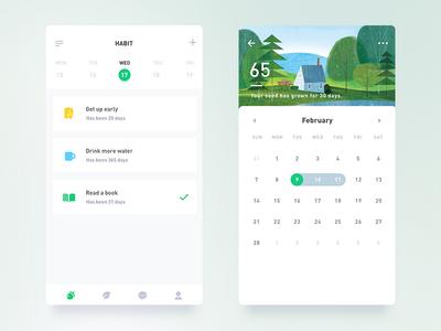 Habit Seed App Redesign days habit todolist green calendar simple