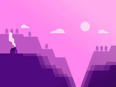 Cliffside illustration mountain cliffs hills isolated design purple landscape