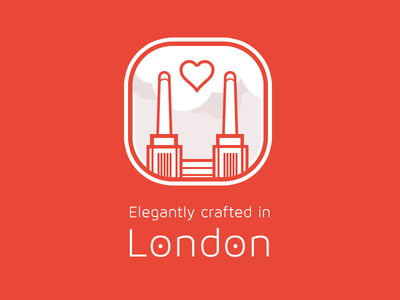 Elegantly Crafted In London icon illustration crafted battersea power station london vector red