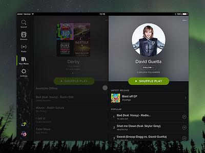 Spotify for iPad playlist artist ui song app music rework ipad spotify