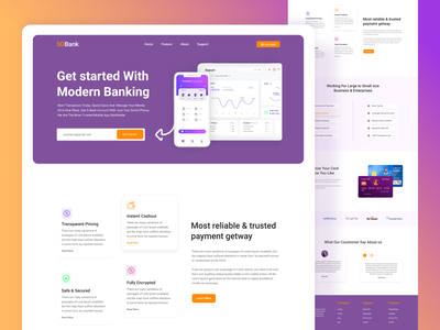Bank Website Landing Page figma fintech finance web design bank ux ui clean website banking mastercard visa card financial minimal landing page