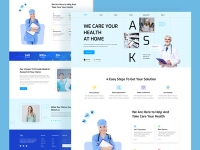 Medical Landing Page online doctor clean ui healthy patient hospital clinic doctor medical app health app healthcare medical clean website design ui website landing page minimalist