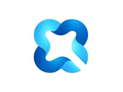 QuadroSoft q ribbon clover leaf identity branding logo design logotype logo