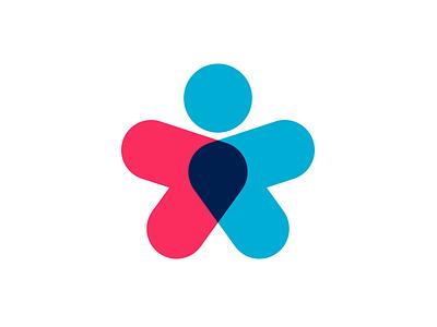 BookitZone multiply arrow marker map star people identity branding logo design logotype logo
