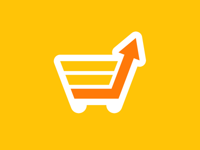 Sfshop shopping cart e-commerce arrow graph chart growth basket logotype logo identity branding