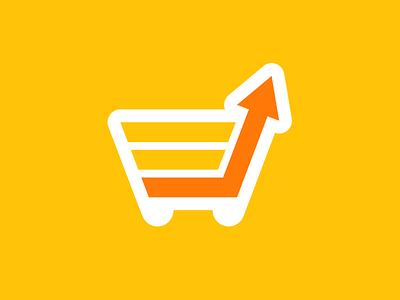 Sfshop shopping cart e-commerce arrow graph chart growth basket logotype logo identity branding