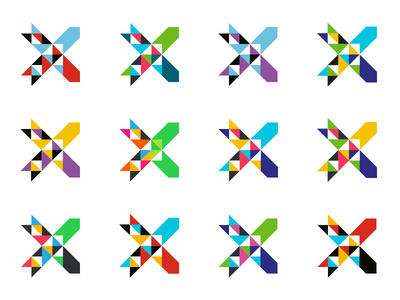 Xchange logo colors x triangle pattern logotype logo identity geometry branding arrow