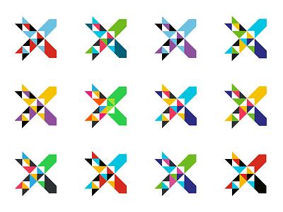 Xchange logo colors x triangle pattern logotype logo identity geometry branding arrow