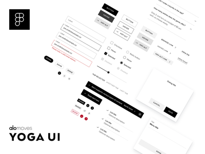 Yoga UI design system simple elegant app website library components styles link toast alert list accordion dialog modal radio button checkbox forms buttons figma pattern library