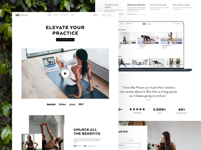 Membership subscription landing page • Alo Moves website testimonial quote pricing nav clay mockup video tabs carousel stats form desktop website layout creative imagery editorial elegant clean light