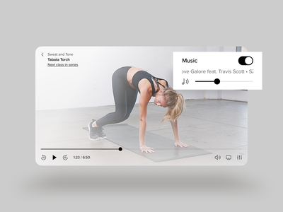 Fitness class video player ui scrubber icons icon settings show exercise yoga fast forward rewind skip sound video player airplay ios movie switch toggle player music