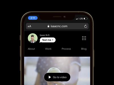 Mobile web nav • Personal portfolio horizontal dropdown link imessage browser safari mockup iphone phone hero button text creative logo cta waffle menubar menu navigation bar navigation