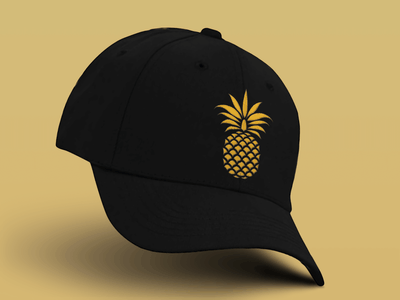 Pineapple hat because I felt like it minimal simple fashion graphic mark logo illustration elegant gold pineapple apparel baseball hat mockup flat