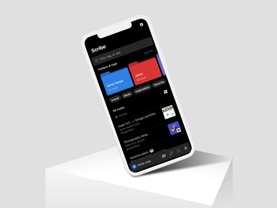 Home screen mockup | Scribe notes mobile app bold mobile ui grid list tags icons search folders mockup scene dark mode night dark figma device 12 iphone clay mockup phone mobile