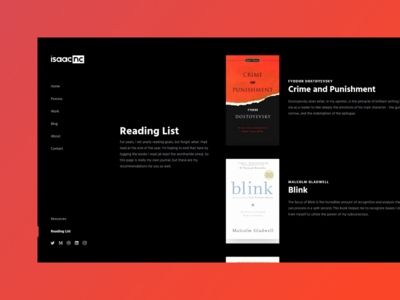My Reading List Page - Personal Website