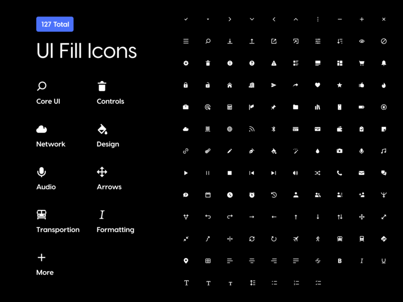 Icon Pack • UI Fill Icons icons by alfredo controls vector media transportation shopping network formatting user interface glyphs arrows icons