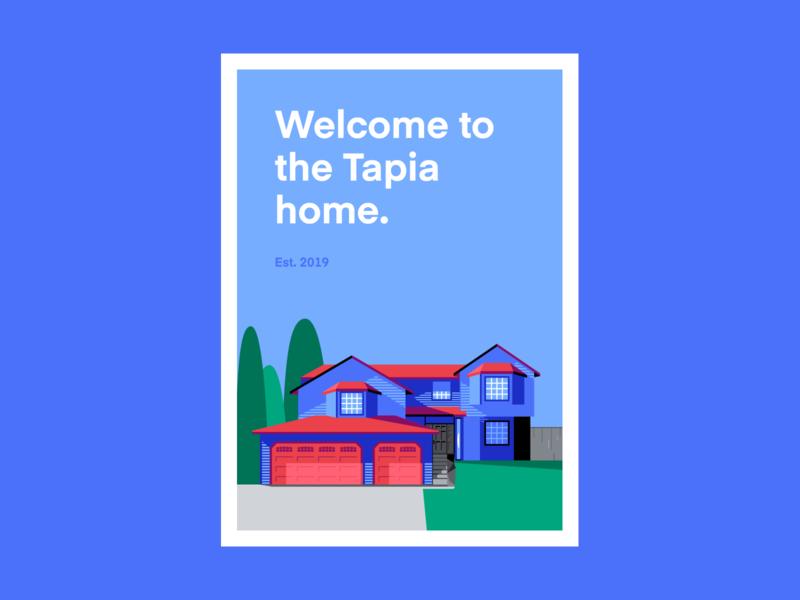 Flat illustration poster design • Evan Ebert real estate graphic illustration flat  design real estate headline contrast bright vibrant colorful sky trees home house poster