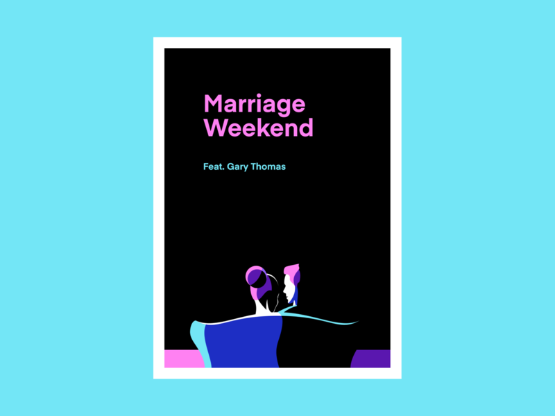 Marriage poster illustration • Canyon Hills Community Church event flat couple couch woman man hair shadows contrast bold colorful graphic art dark